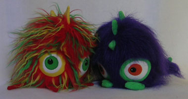 multi-coloured monster and purple monster