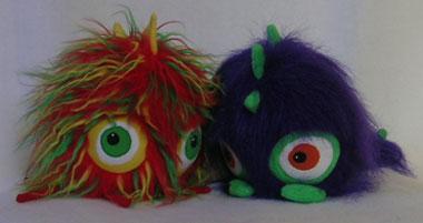 multi-coloured monster and purple monster