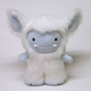 White Frost Monster plush toy by Stuffed Silly, furry snow creature